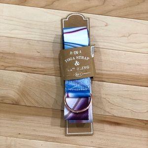 NWT yoga strap & mat sling blue/purple/pink marble